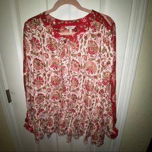 Lucky Brand blouse ruffled hem XL floral